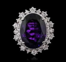 14KT White Gold 10.98ctw Amethyst and Diamond Ring
