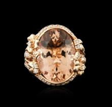 14KT Rose Gold 12.47ct Morganite and Diamond Ring