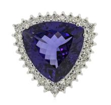 14KT White Gold GIA Certified 17.35ct Tanzanite and Diamond Ring