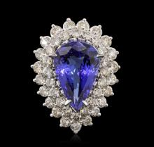 14KT White Gold GIA Certified 9.22ct Tanzanite and Diamond Ring