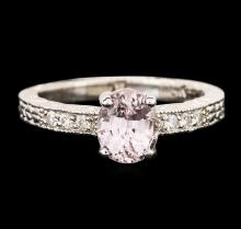 14KT White Gold 1.73ct Padparadscha and Diamond Ring