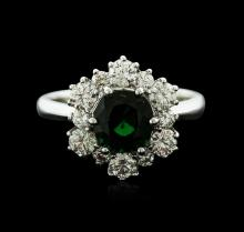 14KT White Gold 1.49ct Green Tourmaline and Diamond Ring