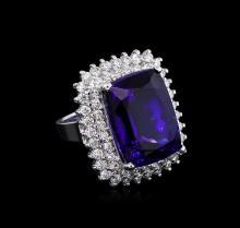 14KT White Gold GIA Certified 27.79 ctw Tanzanite and Diamond Ring