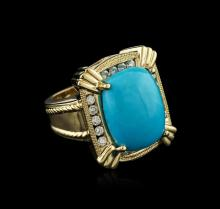 18KT Yellow Gold 6.52 ctw Turquoise and Diamond Ring