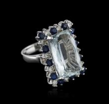 14KT White Gold 9.36 ctw Aquamarine, Sapphire and Diamond Ring