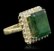 14KT Yellow Gold 15.19 ctw Emerald and Diamond Ring