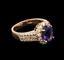2.30 ctw Tanzanite and Diamond Ring - 14KT Rose Gold