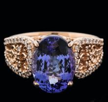 14KT Rose Gold 4.44 ctw Tanzanite and Diamond Ring