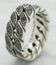 David Yurman 1.20 ctw Black Diamond Ring - Sterling Silver