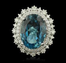 14KT White Gold 16.09 ctw Topaz and Diamond Ring