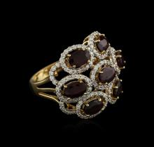 14KT Yellow Gold 3.42 ctw Ruby and Diamond Ring
