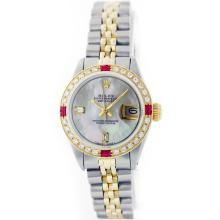 Rolex 14KT Two-Tone Baguette Diamond And Ruby DateJust Ladies Watch