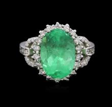14KT White Gold 3.42ct Emerald and Diamond Ring