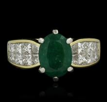 18KT Yellow Gold 1.88ct Emerald and Diamond Ring