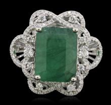 14KT White Gold 6.84ct Emerald and Diamond Ring