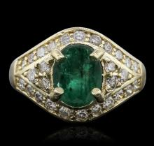 14KT Yellow Gold 2.01ct Emerald and Diamond Ring