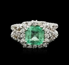14KT White Gold 2.31ct Emerald and Diamond Ring