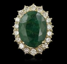 14KT Yellow Gold 10.80ct Emerald and Diamond Ring