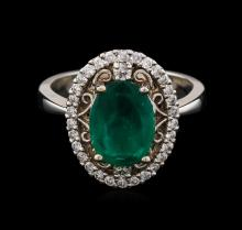 1.73ct Emerald and Diamond Ring - 14KT White Gold