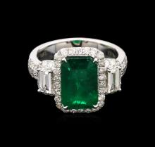 3.57ct Emerald and Diamond Ring - 14KT White Gold