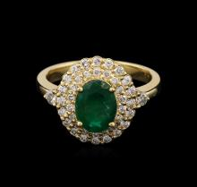 1.45ct Emerald and Diamond Ring - 14KT Yellow Gold