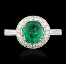 14KT White Gold 1.53ct Emerald & Diamond Ring