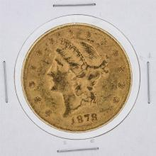 1878 $20 AU Liberty Head Double Eagle Gold Coin