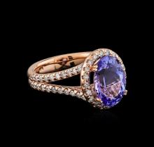 4.01 ctw Tanzanite and Diamond Ring - 14KT Rose Gold
