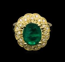 3.38ct Emerald and Diamond Ring - 14KT Yellow Gold