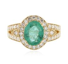 14KT Yellow Gold 1.98ct Emerald and Diamond Ring