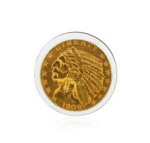 1909-D $5 Cu Indian Head Half Eagle Gold Coin
