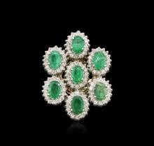 14KT Yellow Gold 4.90ctw Emerald and Diamond Ring
