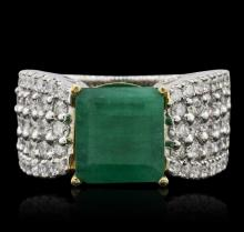 14KT Two-Tone Gold 3.93ct Emerald and Diamond Ring