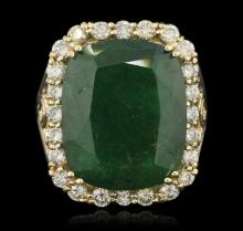 14KT Yellow Gold 15.27ct Emerald and Diamond Ring