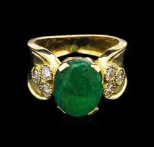 4.17ct Emerald and Diamond Ring - 18KT Yellow Gold