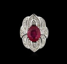 14KT White Gold 4.42ct Ruby and Diamond Ring