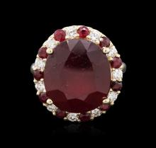 14KT Yellow Gold 19.69ctw Ruby and Diamond Ring