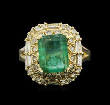 2.90ct Emerald and Diamond Ring - 14KT Yellow Gold