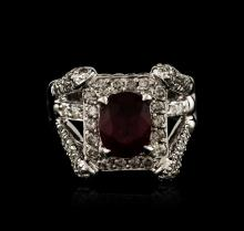 14KT White Gold 2.31ct Ruby and Diamond Ring