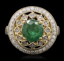 14KT Yellow Gold 2.09ct Emerald and Diamond Ring