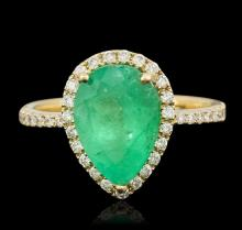 14KT Yellow Gold 2.73ct Emerald and Diamond Ring