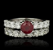 14KT White Gold 1.62ct Ruby and Diamond Wedding Set
