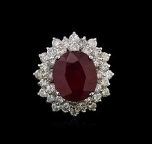 14KT White Gold 8.92ct Ruby and Diamond Ring