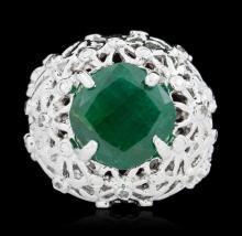 SILVER 9.68ct Emerald & White Topaz Ring