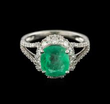 18KT White Gold 3.06ct Emerald and Diamond Ring