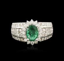 14KT White Gold 1.41ct Emerald and Diamond Ring
