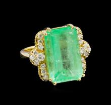 GIA Cert 12.00 ctw Emerald and Diamond Ring - 14KT Yellow Gold