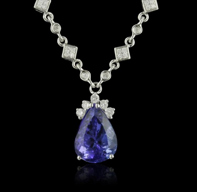 18KT White Gold 6.10ct Tanzanite and Diamond Necklace  FJM2790
