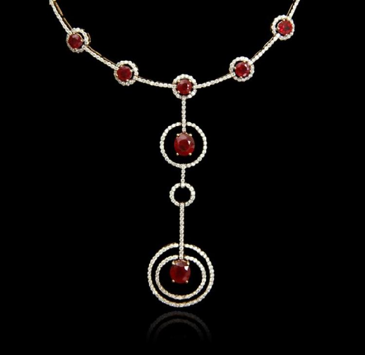 14KT Yellow Gold 6.70ctw Ruby and Diamond Necklace FJM2681