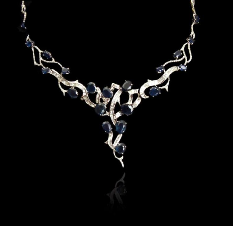 14KT White Gold 28.50ctw Sapphire and Diamond Necklace FJM2687